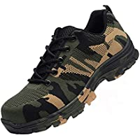 Maybolury Men Women Steel Toe Shoes, Industrial Construction Outdoor Breathable Work Safety Shoes Puncture Resistant Work Sneakers Shoes