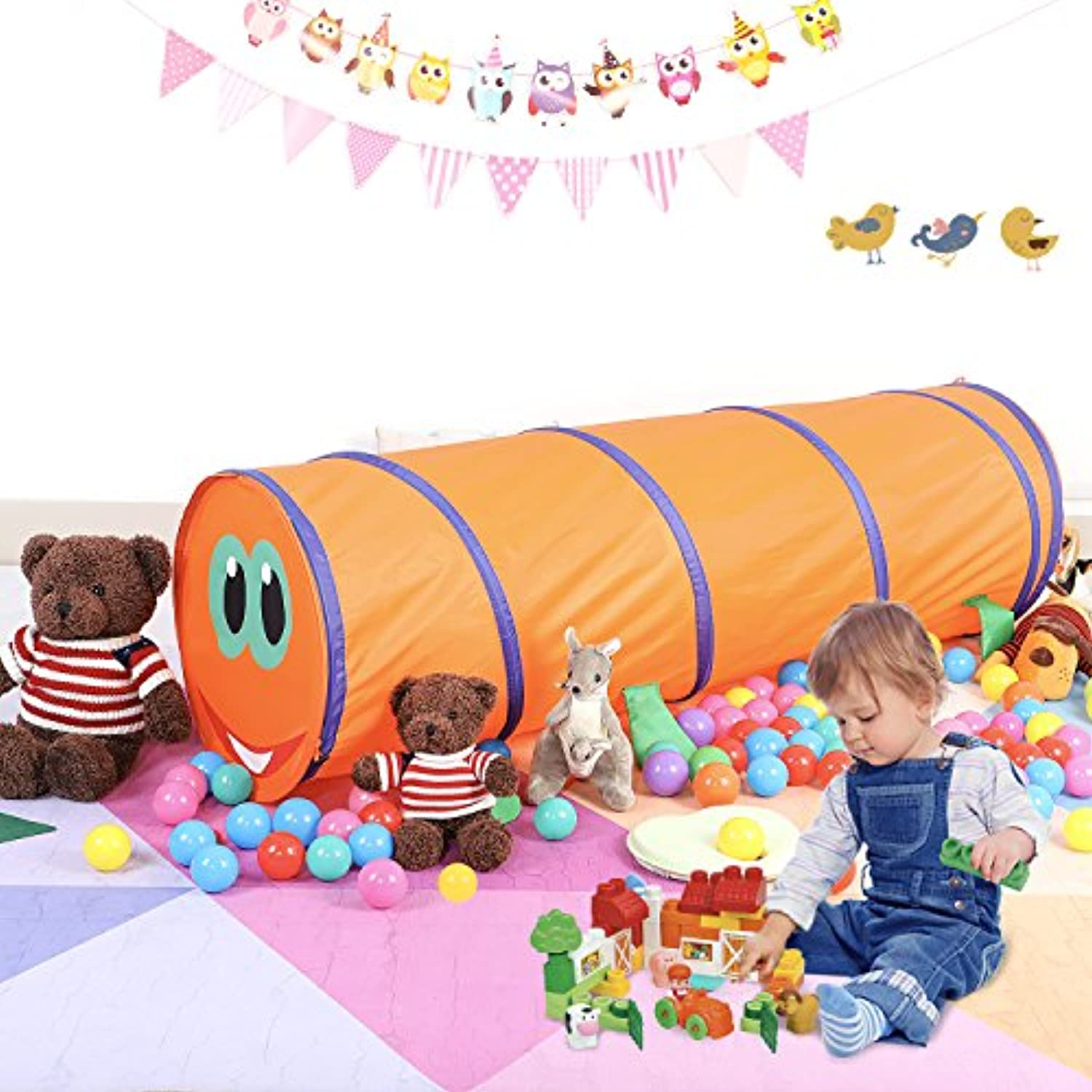 buringer Happy Face CaterpillarトンネルKids Play Tent