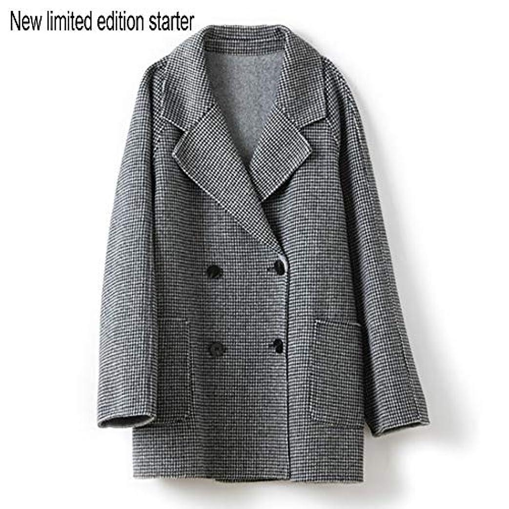 トレッドもろい情報ウールコート婦人服、ダブルブレストラペルファインダブルフェイスコートレディースロングセクションウールコート婦人服,黒,L