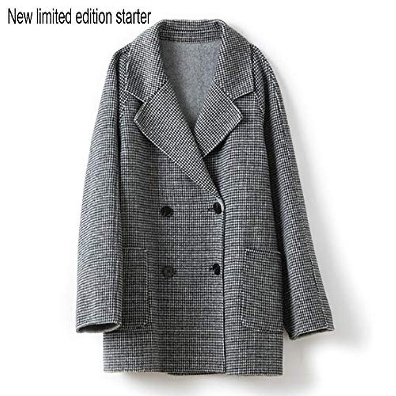 承認健康的満足させるウールコート婦人服、ダブルブレストラペルファインダブルフェイスコートレディースロングセクションウールコート婦人服,黒,L