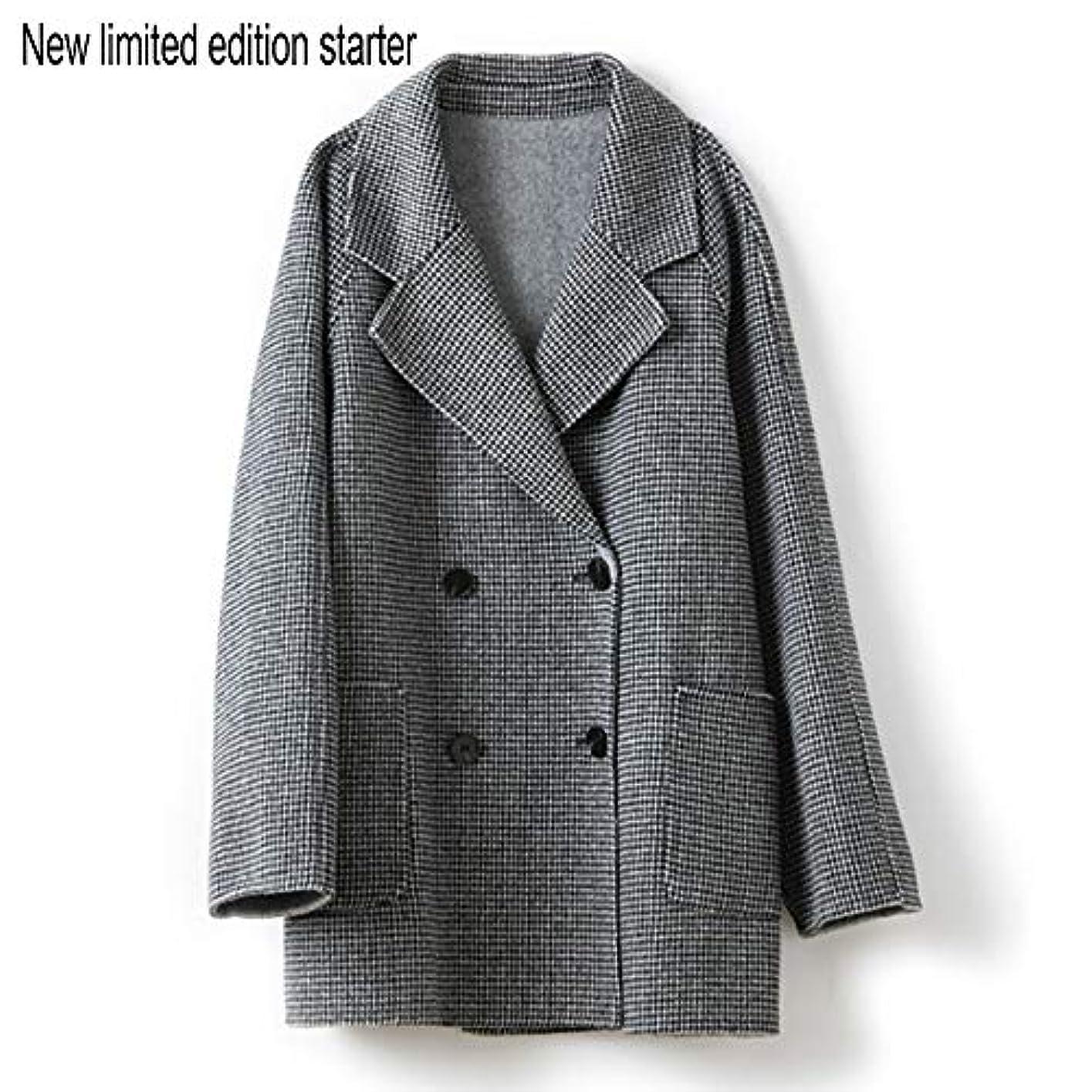 世紀モチーフ変更可能ウールコート婦人服、ダブルブレストラペルファインダブルフェイスコートレディースロングセクションウールコート婦人服,黒,L