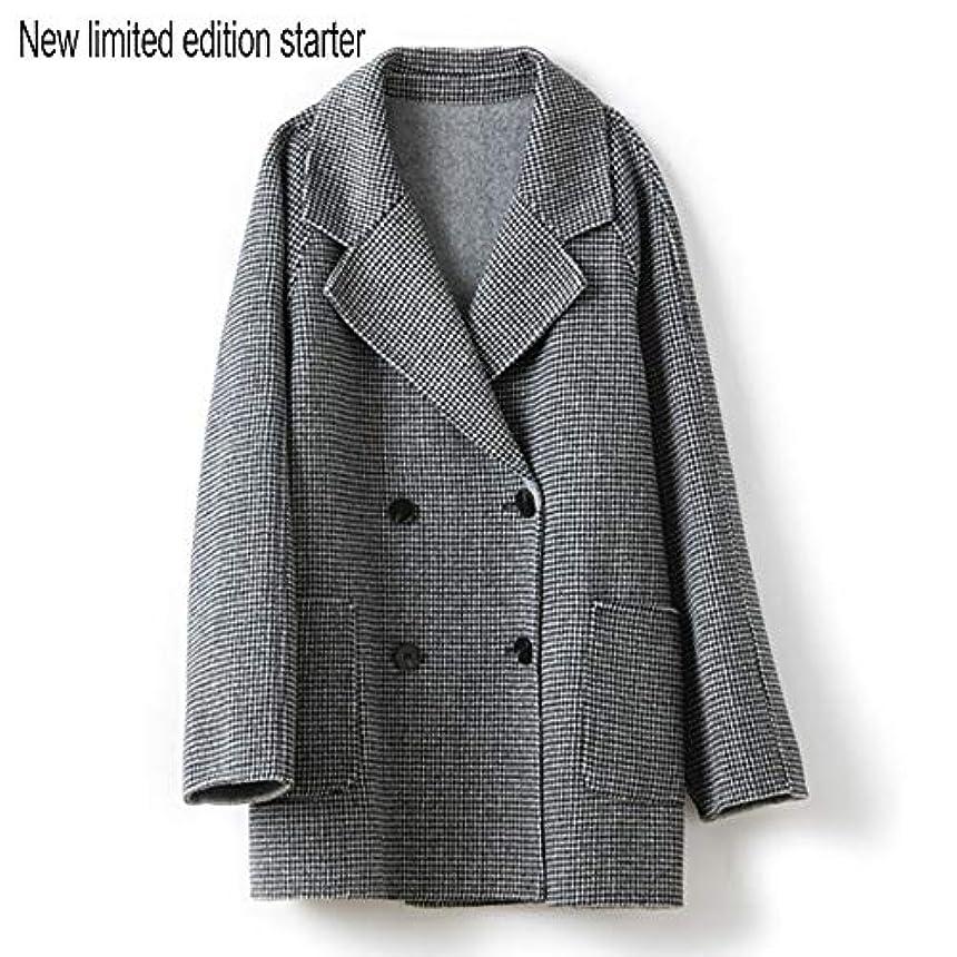 気分が悪い測る同行ウールコート婦人服、ダブルブレストラペルファインダブルフェイスコートレディースロングセクションウールコート婦人服,黒,L