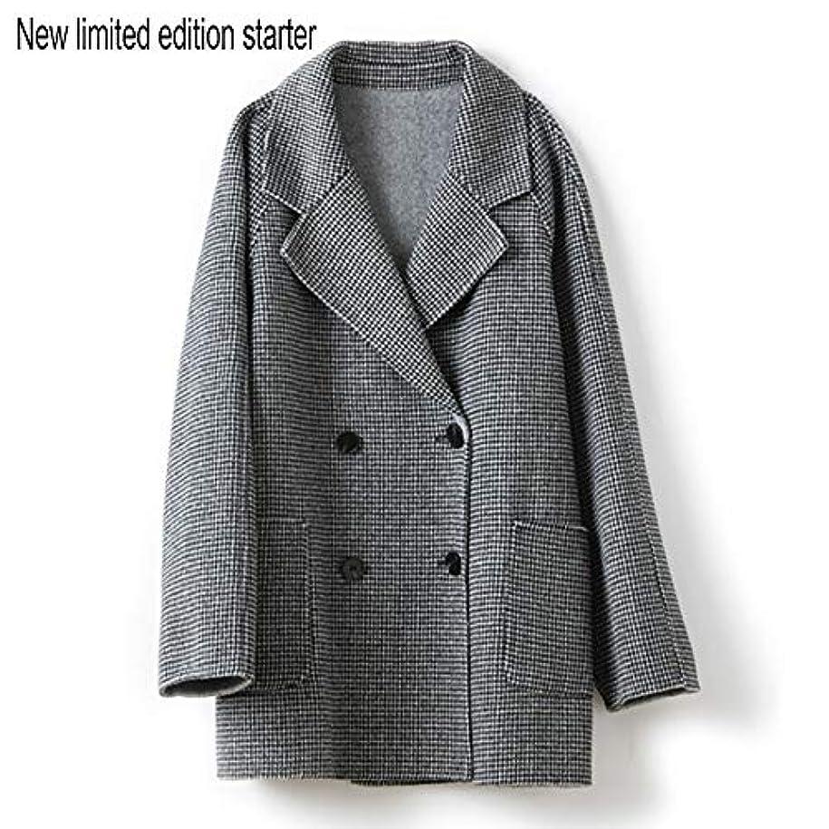 必要としている超えて宣伝ウールコート婦人服、ダブルブレストラペルファインダブルフェイスコートレディースロングセクションウールコート婦人服,黒,L