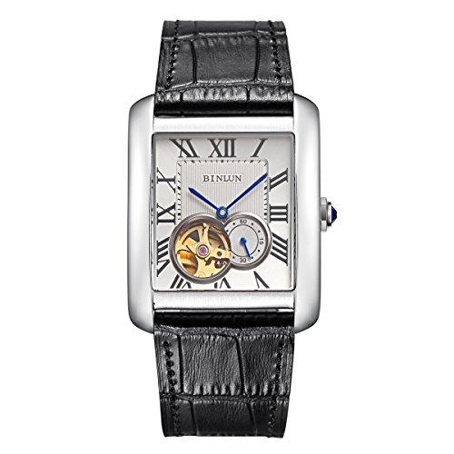 BINLUN 腕時計 メンズ 自動巻き 防水 両面 スケルトン シースルーバック 本革バンド Dバックル ウォッチ [並行輸入品]