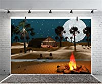 leyiyi 5x 91センチ写真背景Sahara Desert NightキャンプラウンドMoonキャメルテントFire川Stone Trees Sparkle Stars Western旅行バックドロップフォトPortraitビニールStudioビデオProp