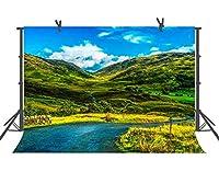 自然写真撮影用背景幕 グリーンマウンテンブルースカイ 自然な風景の背景 家族 子供 ポートレート 写真スタジオ小道具 YouTube背景 9X6FT LFST048