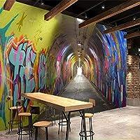 Weaeo 3D 3次元時間トンネルチャンネルKtvレストランの壁のカスタム大きな壁画の緑の壁紙-150X120Cm