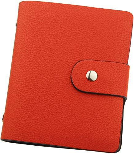CMG (コモグッド) カードケース 革 レザー 薄型 磁気防止 大容量 【60枚収納】 オレンジ CC009