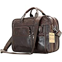 Berchirly Genuine Leather 15inch Expandable Laptop Computer Business Briefcase Bags Cowhide Handbag Case