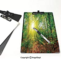 クリップボード 用箋挟 クロス貼 A4 短辺とじ 農場の家の装飾 フォルダーボードフォルダーライティングボード (2パック)夕焼けの夕方の草原グリーンランドの母なる大地の野生動物の写真グリーンブラウンの森