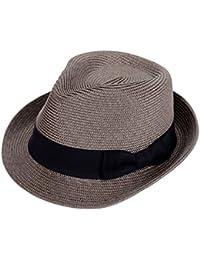 中折れハット メンズ 麦わら帽子 紫外線防止 礼帽 アウトドア 春夏 おしゃれ 形崩れない サイズ調整可 ゴルフ ストロー 大きい 56CM-58CM