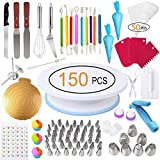 Cake Decorating Kit, 150 PCS Cake Decorating Supplies, Inkec Baking Supplies with Cake Turntable, Icing Tips, Couplers, Carving Pens, Piping Bags Silicone Cupcake Egg Beater for Beginners, Cake Lovers