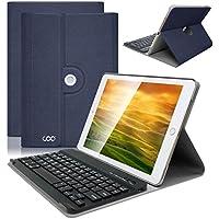 iPad 9.7 キーボードケース 360度回転式 Bluetooth3.0 着脱式キーボード搭載 スタンド機能付き 軽量 高級PUレザー 保護カバー iPad 9.7 2018/2017/ Pro 9.7/iPad Air2/iPad Air 汎用(紺色)