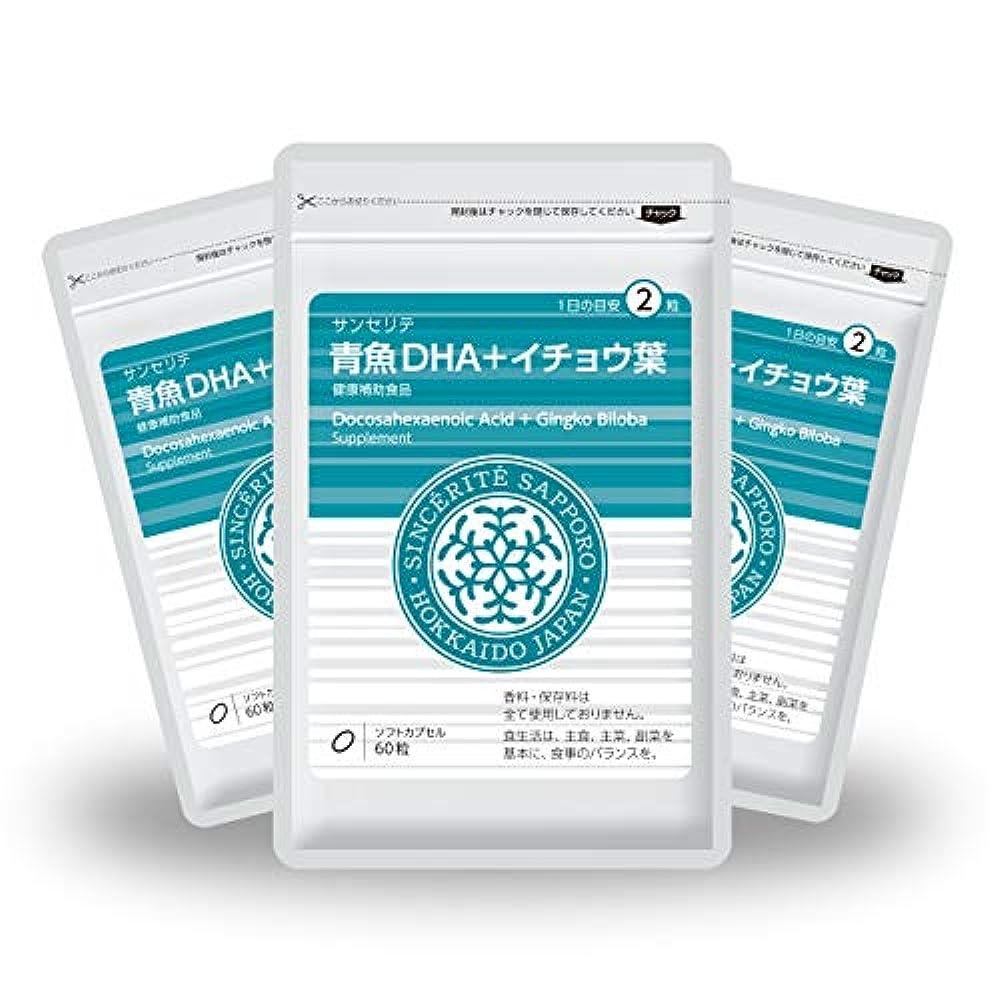 飛行場たるみ親密な青魚DHA+イチョウ葉 3袋セット[送料無料][DHA]101mg配合[国内製造]お得な90日分