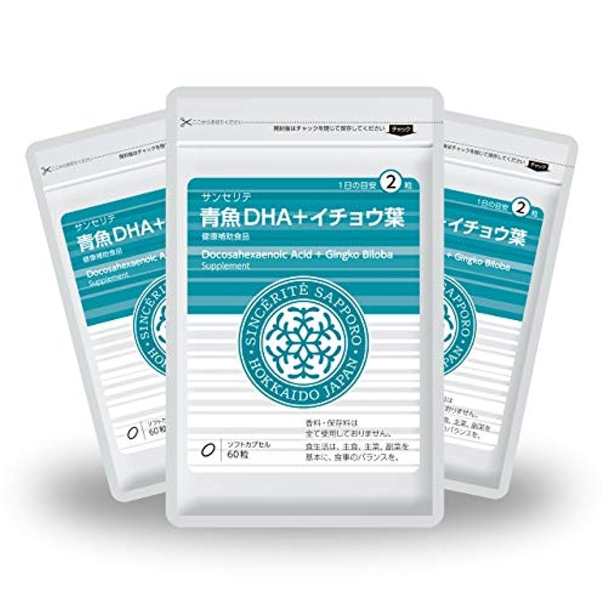人差し指免除完全に青魚DHA+イチョウ葉 3袋セット[送料無料][DHA]101mg配合[国内製造]お得な90日分