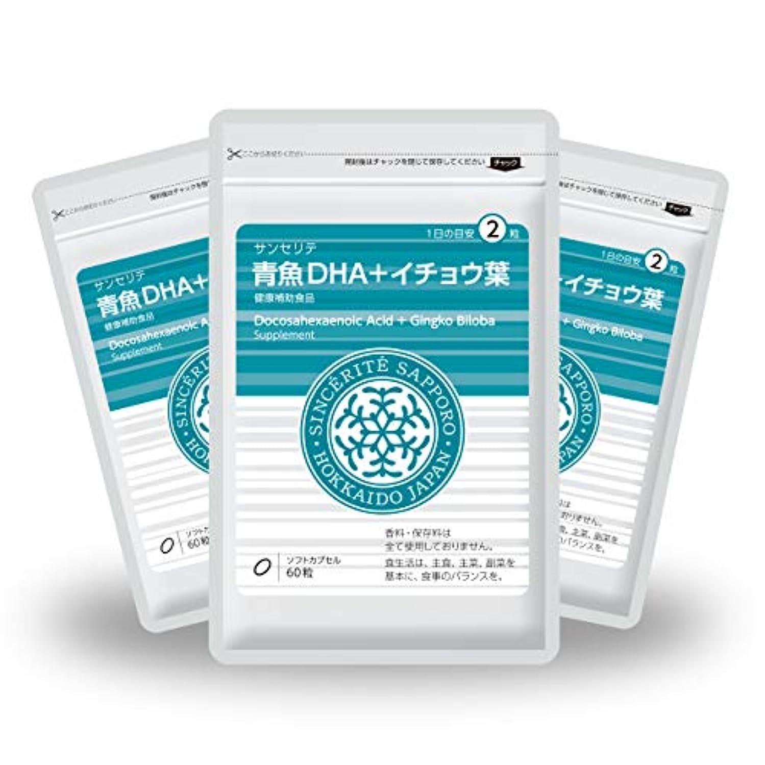反論時期尚早落ち着く青魚DHA+イチョウ葉 3袋セット[送料無料][DHA]101mg配合[国内製造]お得な90日分