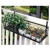 錬鉄の手すりの植物の棚、多機能の壁に取り付けられた植木鉢のホールダーの棚、屋外のさびない装飾的な植木鉢の棚 黒