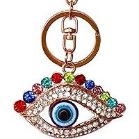 JewelBeauty Shiny Evil Eye Keychain Sparkling Keyring Crystal Rhinestones Purse Pendant Handbag Charm