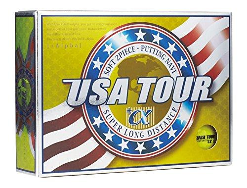 アサヒゴルフ ゴルフボール USA TOUR DISTANCE +α 12個入り イエロー