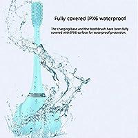 子供用充電式電動歯ブラシ、透明カップ付きシリコン電動歯ブラシ、8000〜30000 /分の振動周波数、ワイヤレス充電、食品グレードのシリコーンブラシヘッド、IPX6防水,Blue