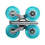 ポータブルローラー道路ドリフトボードSkates滑り止めプレートアルミトラックブルーホイールwithフラッシュライトwith PU Wheels with abec-7608ベアリング