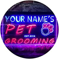 Personalized Your Name Est Year Theme Pet Grooming Shop Display Dual Color LED看板 ネオンプレート サイン 標識 赤色 + 青色 300 x 210mm st6s32-qq1-tm-rb