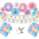 Amosfun ユニコーンをテーマにしたパーティーの装飾風船バナーファン紙吹雪風船セット夏の誕生日パーティーの装飾23個