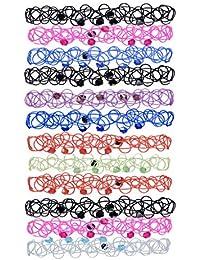 F Fityle 12 Pieces Hippy Tattoo Choker Stretch Bracelet Anklet Henna Boho 80s 90s Party Jewelry