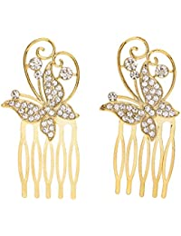 Perfeclan 1ペア ヘアクリップ 櫛 クリスタル ラインストーン 結婚式 人工真珠 ヘア装飾 クリップの櫛 花嫁 多仕様選べる - バタフライ - ゴールデン