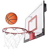壁マウントミニバスケットボールフープシステムNet GoalスチールリムポリカーボネートBackboard w / Smallバスケットボールポンプニードル ホームオフィス寮