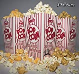 Diner's Choice Gourmet Concession Popcorn Boxes Perfect for Family Movie Night, Theaters, Festivals, and Party Favors Red and White Striped Containers (10-count) [並行輸入品]