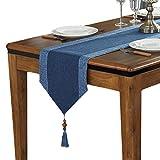 テーブルランナー タッセル付き 無地 ストライプ テーブルクロス モダン おしゃれ 33x160cm ブルー