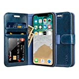 Labato iPhone X ケース 手帳型 本革レザー TPU スタンド カードポケット アイフォンXケース 財布型 手作り ハンドメイド 耐摩擦 耐汚れ 全面保護 フリップ 人気 (lbt-IPX-02Z46 ブルー)