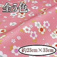 【INAZUMA】ちりめん金なしはぎれ/カットクロス 約23×33cm 桜柄 M-114-2Gピンク