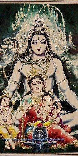 Shiv Parivar Hindu神シヴァ、Parvati(UMA)、ガネーシャ???合板木製印刷ポスター壁アート