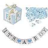 SONONIA 3セット 紙 キャンディ ギフトボックス ベビーシャワー 青 ミニおしゃぶり おむつケーキの装飾 出産祝い用 デコレーション 壁飾り