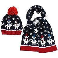 Three Sheep ニット帽 マフラー 2点セット 女の子 毛糸 スノーメンズ柄 雪 キッズ ベビー 赤ちゃん ベビー帽子 暖かい 秋冬 耳あて 防寒 ポンポン可愛い