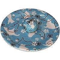 9-45 ねこランド(ブルー) 9cm香皿 日本製 お香立て 陶器 猫柄