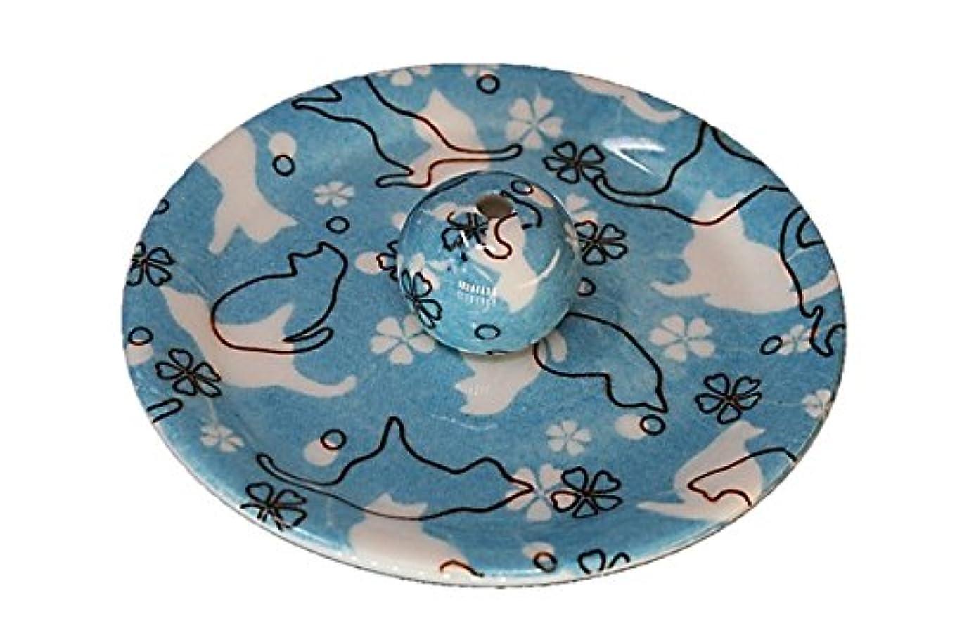 ほうき厄介な釈義9-45 ねこランド(ブルー) 9cm香皿 日本製 お香立て 陶器 猫柄