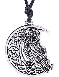 Owl Crescent Moon Charm Pendant Necklace Irish Knot Pentagram Amulet Talisman Jewelry