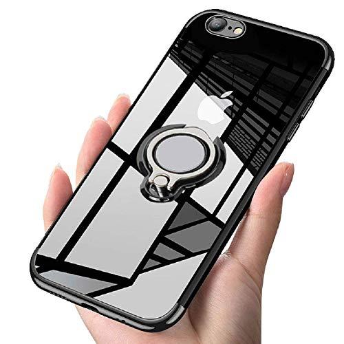 iPhone6S ケース/ iPhone6 ケースリング クリア 耐衝撃 全面保護 磁気カーマウントホルダー スタンド 柔らかい殻 ケース 車載ホルダー対応 薄型 軽量 滑り防止 黄変防止