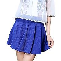 cozyfree レディース フレアスカート シンプル ハイウェスト フレアミニスカート (S, クラシックブルー)