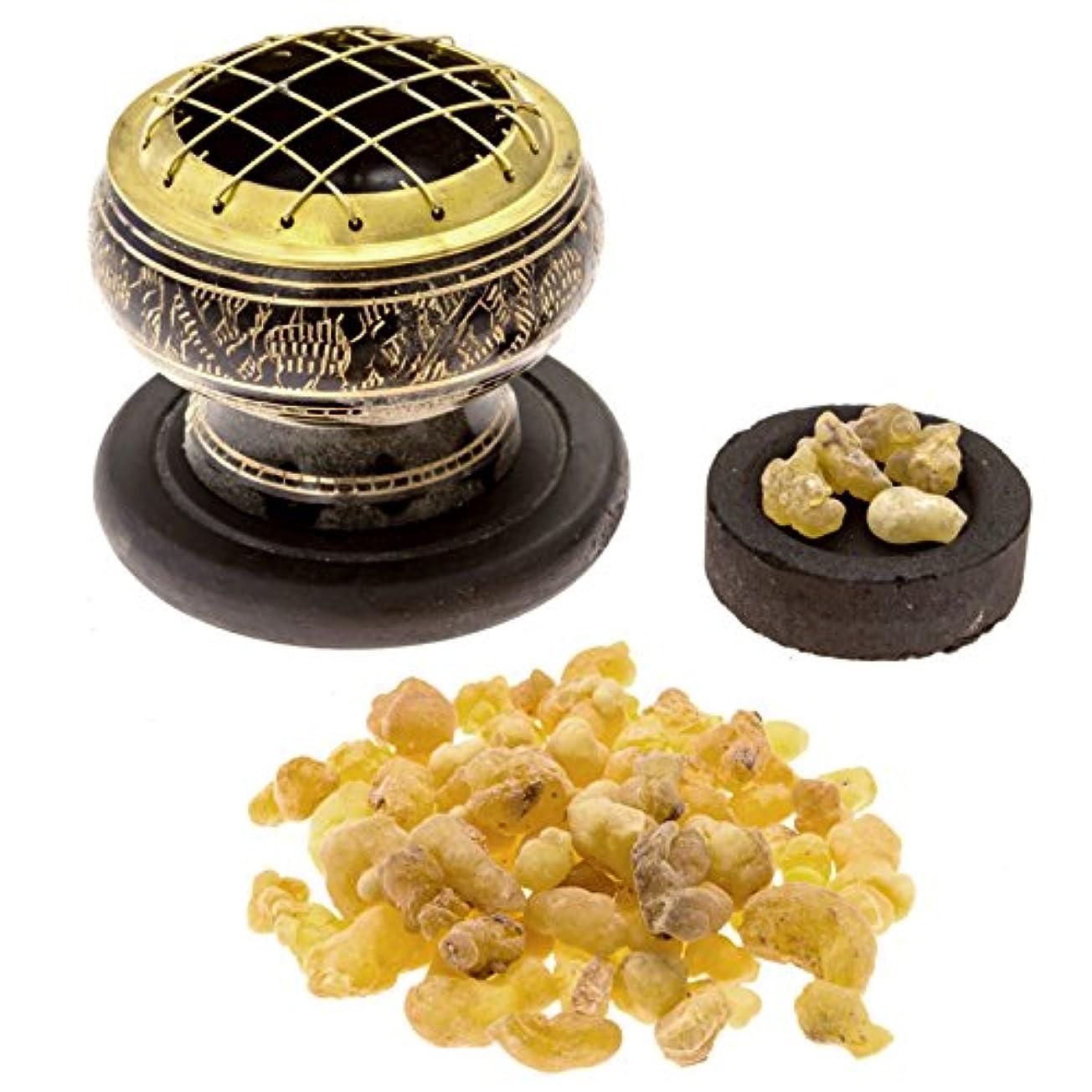 食物切るバブルプレミアムFrankincense Burningキット( withチベット香炉または真鍮画面Burner ) (真鍮Burner )