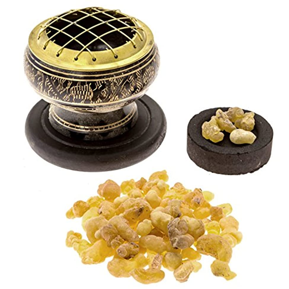 現れる落ち着いた知恵プレミアムFrankincense Burningキット( withチベット香炉または真鍮画面Burner ) (真鍮Burner )