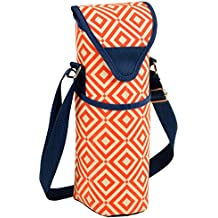 Picnic at Ascot Insulated Wine/Water Bottle Tote with Shoulder Strap - Night Bloom Orange/Navy
