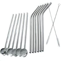 kilofly Reusable Bent Drink Straws and Spoon Drink Straws Value Pack [Set of 12 + 2 Cleaners], 20cm
