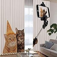 断熱 昼目隠し UVカット 寝室 大広間 遮熱 幅100×丈135cm×2枚 おかしい猫はスマートフォンカメラでSelfieを取っています
