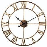 Soledi 掛け時計 壁時計 ウオールクローク 静音 北欧風 クラシック アンティーク秒針なし 鉄芸 直径48CM オーバーサイズ おしゃれ(ゴールデン)