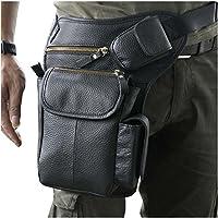 Le'aokuu Mens Genuine Leather Motorcycle Hiking Waist Hip Bum Pack Drop Leg Bag Pouch