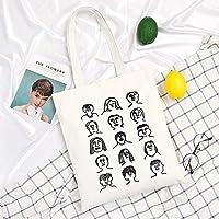 Student Tote Bag, Female Canvas Face Sketch Shoulder Bag Simple Light File Shopping Travel Handbag (White) Polykor